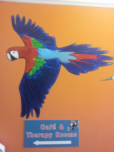 Parrot mural, The Toucan Cafe