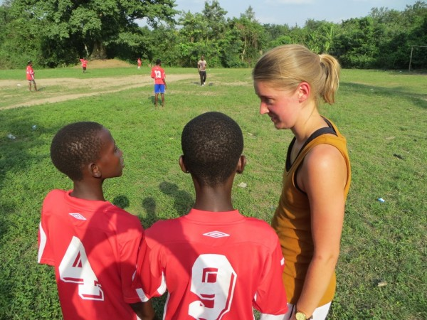 Running football training in Ghana