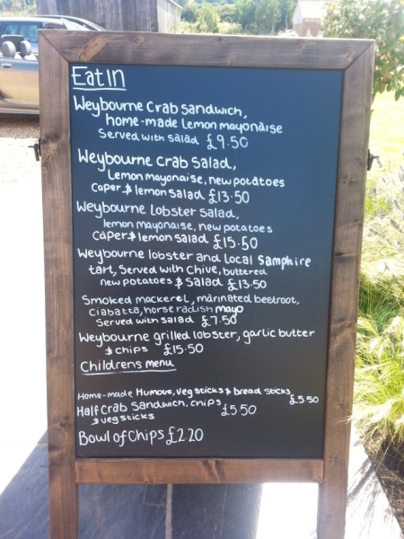 the 'eat in' menu at Rocky Bottoms, Norfolk