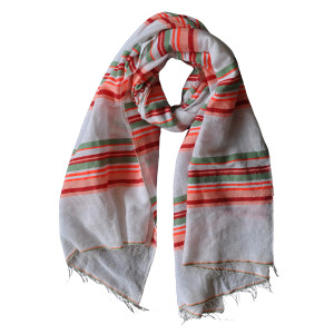 Mela lightweight cotton striped scarf (red and coral), £40, Danaqa.com