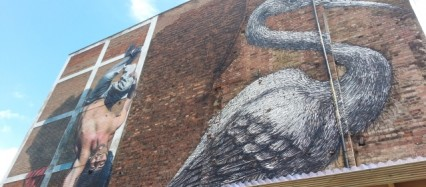 A new mural joins the crane by ROA