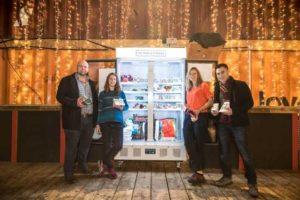 Ben Longman, Olivia Haughton, Rebecca Trevalyan and Sebastian Wood launch the People's Fridge (photo Sebastian Wood)