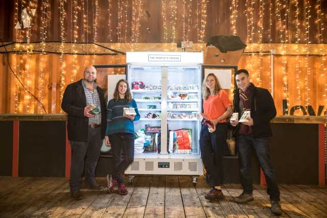 Ben Longman, Olivia Haughton, Rebecca Trevalyan and Sebastian Wood launch the People's Fridge (photo Sebastian Wood)