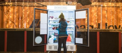 Olivia Haughton tries the Peoples Fridge (photo Sebastian Wood)