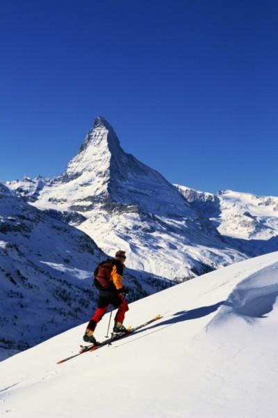 Skier in front of Matterhorn