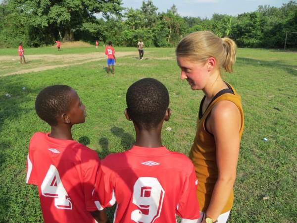 Running football training in Ghana